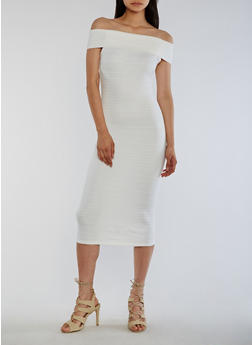 Off the Shoulder Bandage Dress - IVORY - 0094058752105