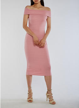 Off the Shoulder Bandage Dress - DUSTY ROSE - 0094058752105
