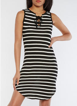 Striped Lace Up Rounded Hem Tank Dress - BLACK/WHITE - 0094058752238