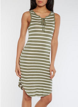 Striped Lace Up Rounded Hem Tank Dress - OLIVE/WHITE - 0094058752238