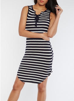 Striped Lace Up Rounded Hem Tank Dress - NAVY/WHITE - 0094058752238
