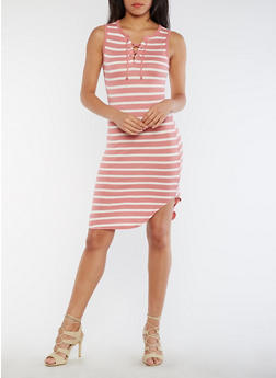 Striped Lace Up Rounded Hem Tank Dress - ROSE/WHITE - 0094058752238