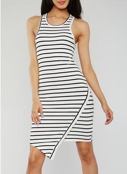 Striped Asymmetrical Racerback Tank Dress - 0094058752282