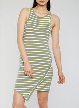 Striped Asymmetrical Racerback Tank Dress - 0094058752282