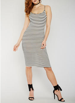 Striped Mid Length Tank Dress - 0094058752284