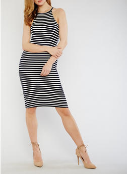 Striped Bodycon T Shirt Dress - 0094058752285