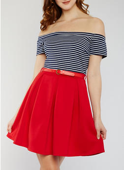 Off the Shoulder Striped Skater Dress with Belt - 0094058752505