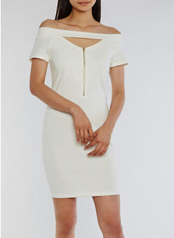 Off the Shoulder Keyhole Bodycon Dress - OFF WHITE - 0094058752557