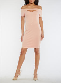 Off the Shoulder Keyhole Bodycon Dress - MAUVE - 0094058752557