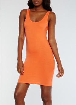 Solid Bodycon Tank Dress - 0094058752611