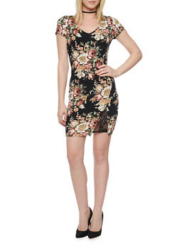 Short Sleeve Floral Bodycon Dress with Faux Wrap Front and Lace Slit Detail - 0094058752614