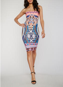 Sleeveless Printed Mid Length Bodycon Dress - 0094058752728