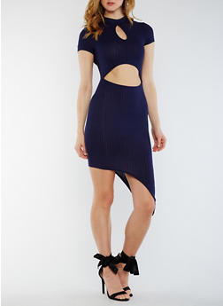 Asymmetrical Rib Knit Cutout Dress - 0094058752745