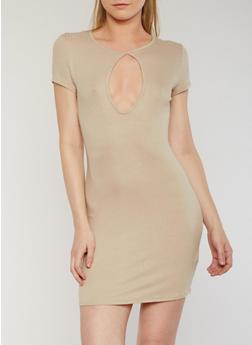 Short Sleeve Rib Knit T Shirt Dress with Keyhole - 0094058752754