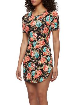 Rib Knit Floral Print Mini Dress - 0094058931261