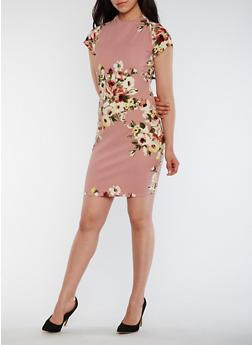 Floral Funnel Neck Dress - 0094058932003