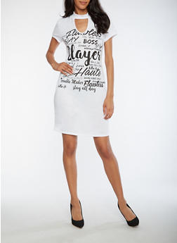 Text Graphic Choker Neck Dress - WHT-BLK - 0094058939819
