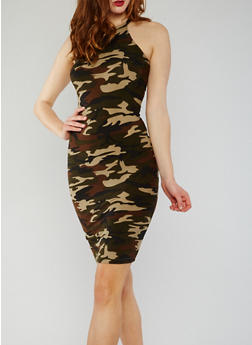 Camouflage Halter Neck Midi Dress - 0094060580002