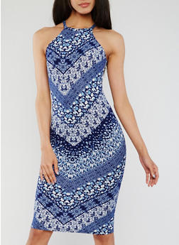 Sleeveless Floral Halter Midi Dress - 0094060580004