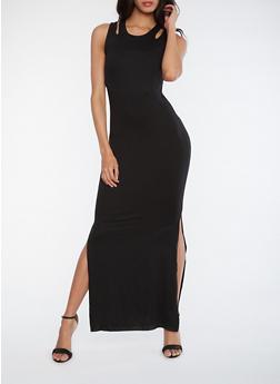 Sleeveless Maxi Dress with Side Slits - BLACK - 0094060580009