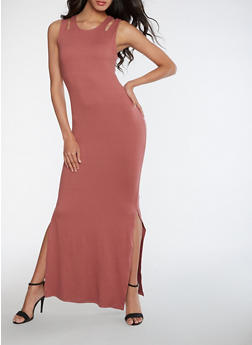 Sleeveless Maxi Dress with Side Slits - 0094060580009