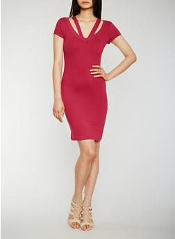 Strappy Short Sleeve V Neck Bodycon Dress - 0094060580011