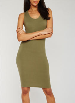 Solid Racerback Midi Dress - OLIVE - 0094060580150