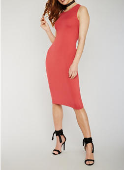 Sleeveless Scoop Neck Bodycon Dress - SLATE ROSE - 0094060580250