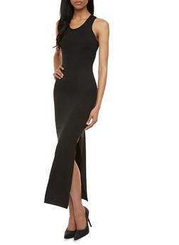 Racerback Maxi Dress with Side Slit - 0094060582250