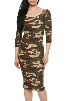 Midi Dress with Camouflage Print and Scoop Neck - 0094060582374