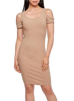 Ribbed Cold-Shoulder Dress - 0094060582479