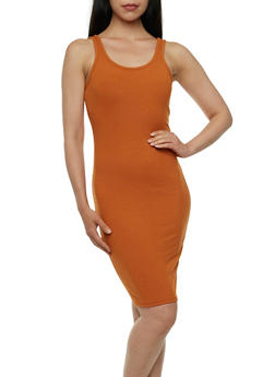 Rib-Knit Bodycon Dress with Scoop Neck - 0094060582497