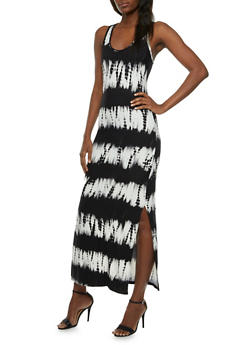 Tie-Dye Maxi Dress with Racerback Paneling - 0094060582550