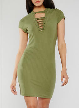 Lace Up Ribbed Knit Bodycon Dress with Choker Neckline - SAGE - 0094060582758