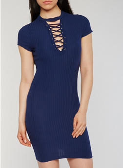 Lace Up Ribbed Knit Bodycon Dress with Choker Neckline - 0094060582758