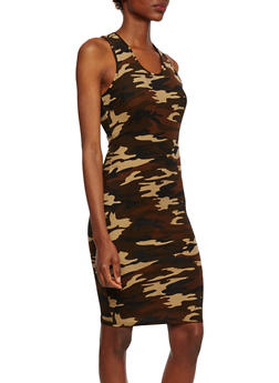 Camo Sleeveless Dress with Racerback Paneling - 0094060584374