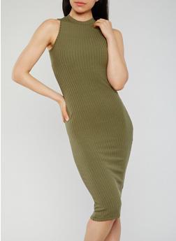 Sleeveless Mock Neck Ribbed Knit Midi Dress - OLIVE - 0094060585479