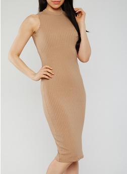 Sleeveless Mock Neck Ribbed Knit Midi Dress - 0094060585479