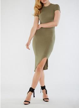 Ribbed Knit Mock Neck Dress - 0094061634475