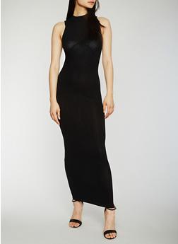 Sleeveless Rib Knit Mock Neck Maxi Dress - 0094061639487