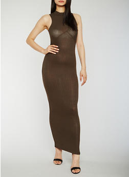 Sleeveless Rib Knit Mock Neck Maxi Dress - OLIVE - 0094061639487