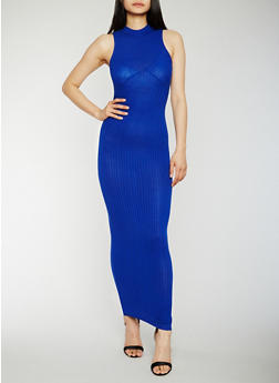 Sleeveless Rib Knit Mock Neck Maxi Dress - 0094061639487