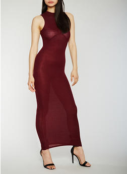 Sleeveless Rib Knit Mock Neck Maxi Dress - BURGUNDY - 0094061639487