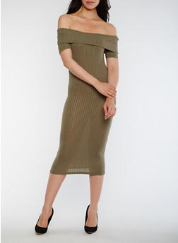 Off the Shoulder Rib Knit Midi Dress - OLIVE - 0094061639489