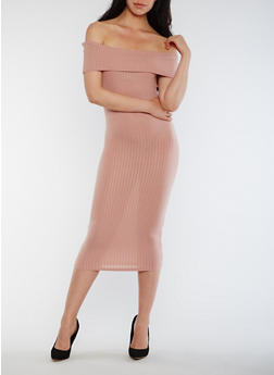 Off the Shoulder Rib Knit Midi Dress - 0094061639489