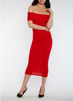 Off the Shoulder Rib Knit Midi Dress - 0094061639489