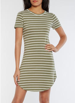 Striped Short Sleeve T Shirt Dress - 0094061639499