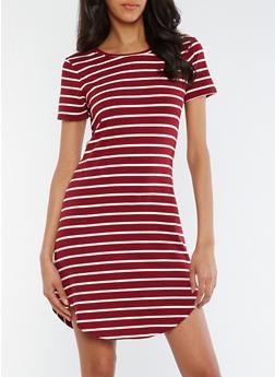 Striped Short Sleeve T Shirt Dress - 0094061639499