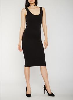 Solid Bodycon Tank Dress - BLACK - 0094061639511