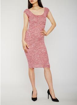 Scoop Neck Rib Knit Bodycon Dress - 0094061639512